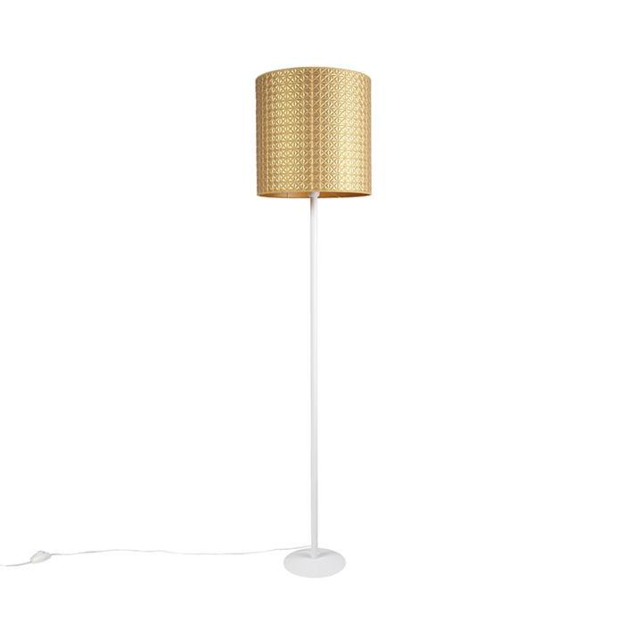 Vintage-vloerlamp-wit-met-goud-triangle-kap-40-cm---Simplo
