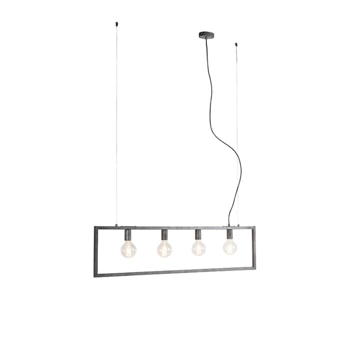 Moderne-hanglamp-antiek-zilver-4-lichts---Simple-Cage