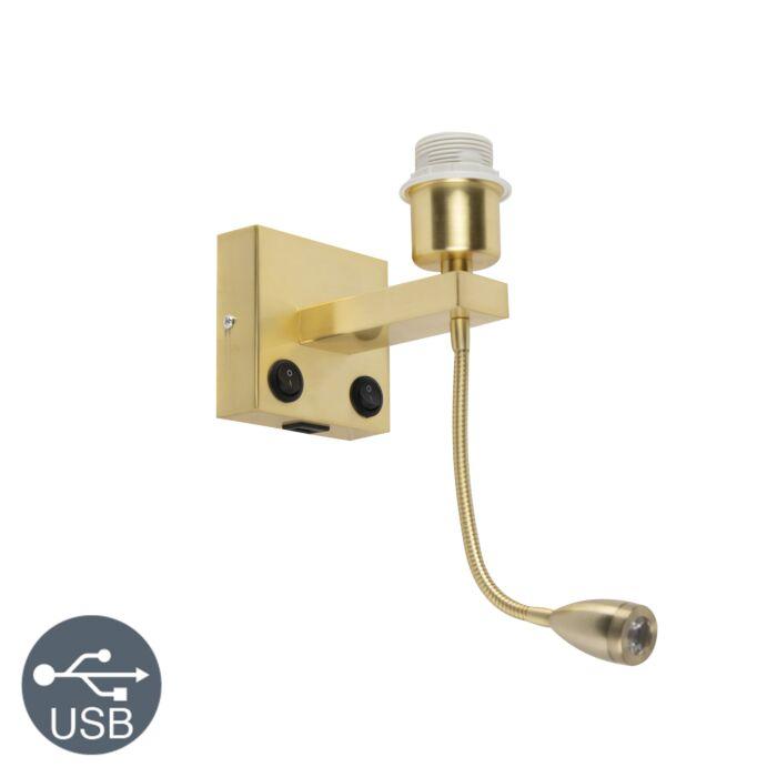 Art-deco-wandlamp-goud-met-USB-en-flexarm---Brescia-Combi