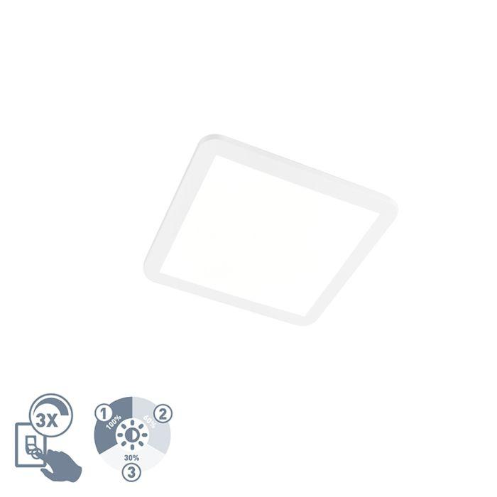 Vierkante-plafondlamp-wit-30-cm-incl.-LED-IP44---Camilla