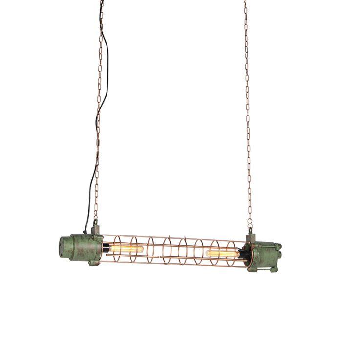 Industriele-hanglamp-antiek-groen-en-koper---Fuze