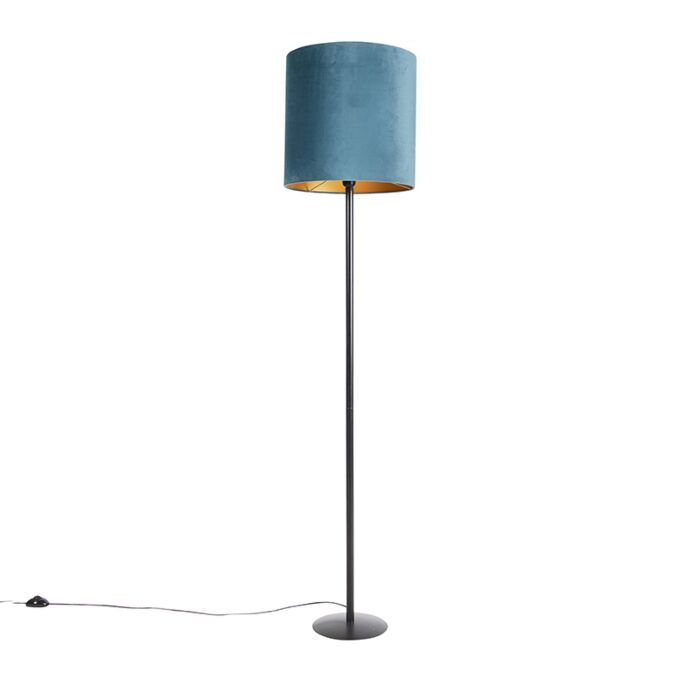 Zwarte-vloerlamp-met-velours-kap-blauw-met-goud-40-cm---Simplo