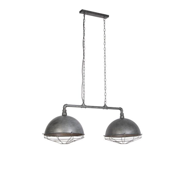 Industriële-hanglamp-antiek-zilver-2-lichts---Course