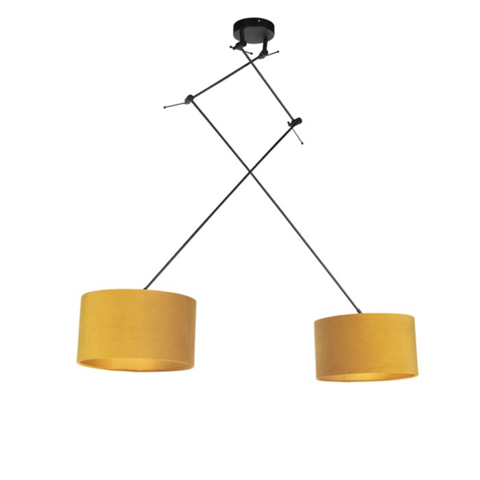 Hanglamp-met-velours-kappen-oker-met-goud-35-cm---Blitz-II-zwart