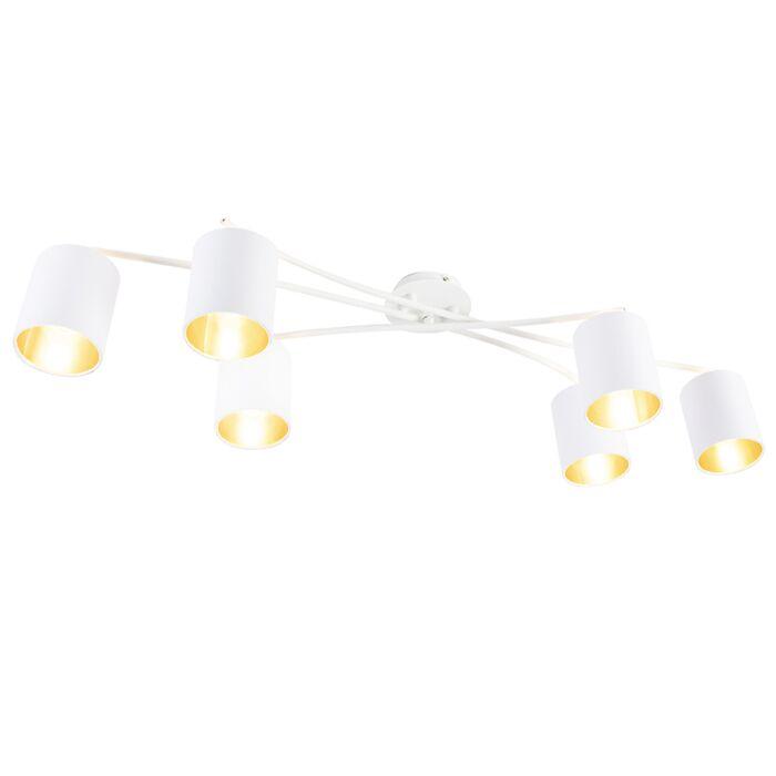 Moderne-plafondlamp-wit-6-lichts---Lofty
