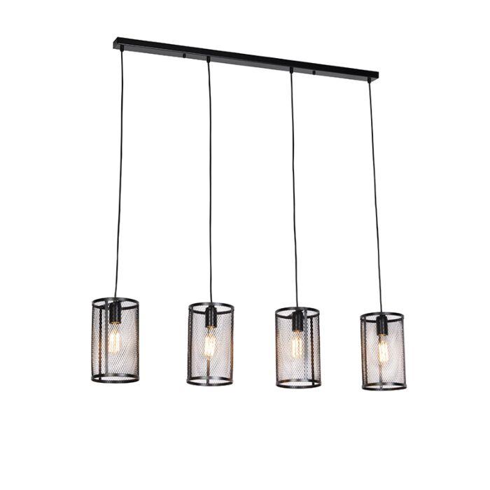 Industriële-hanglamp-zwart-4-lichts---Gauze