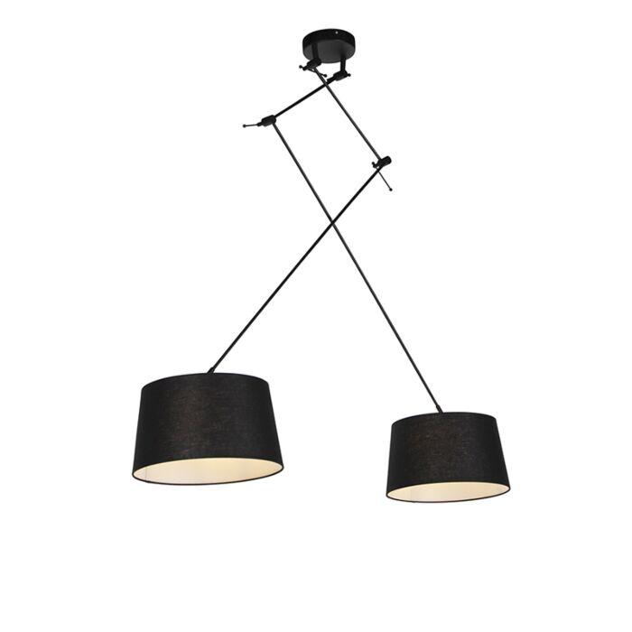 Hanglamp-met-linnen-kappen-zwart-35-cm---Blitz-II-zwart