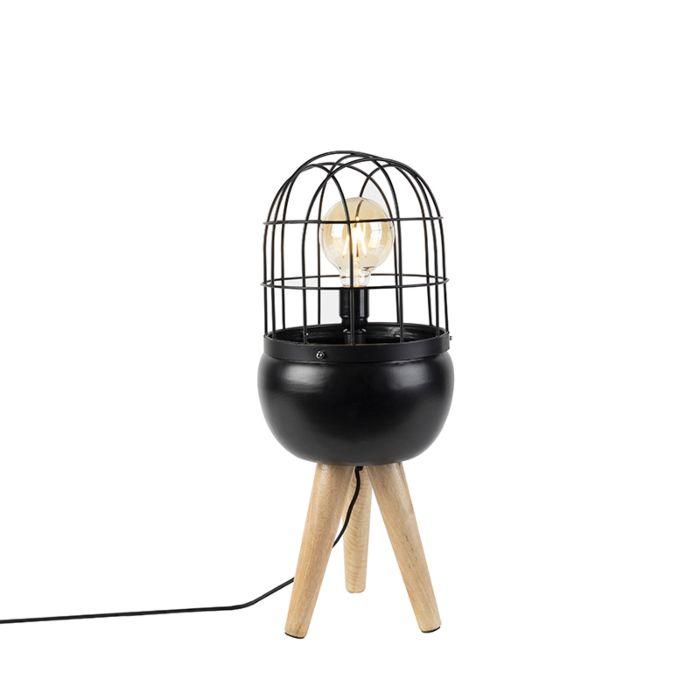 Moderne-tafellamp-zwart-op-houten-driepoot---Birds