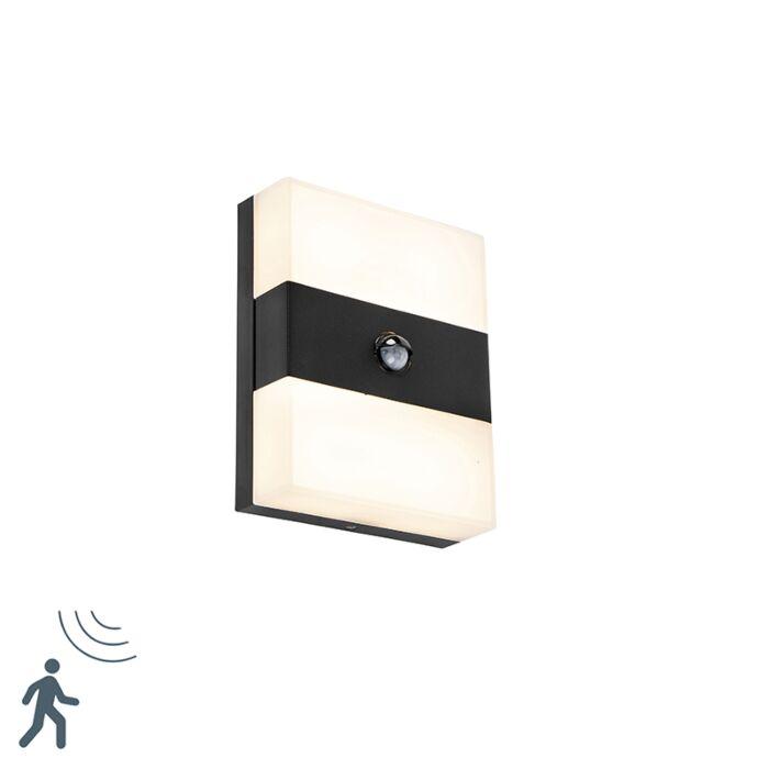 Buitenwandlamp-zwart-IP44-incl.-LED-met-bewegingsmelder---Dualy