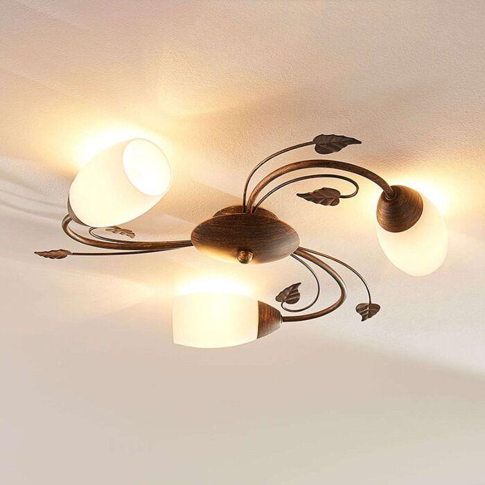 Klassieke-plafondlamp-zwart-met-goud-incl.-LED---Stefania