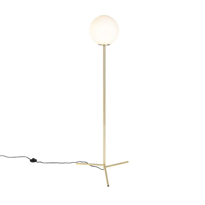 Art-deco-vloerlamp-messing-met-melkwit-glas---Pallon