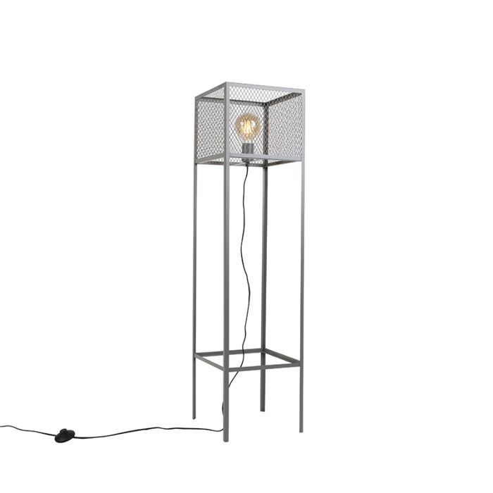 Industriële-vierkante-vloerlamp-antiek-zilver---Cage-Robusto
