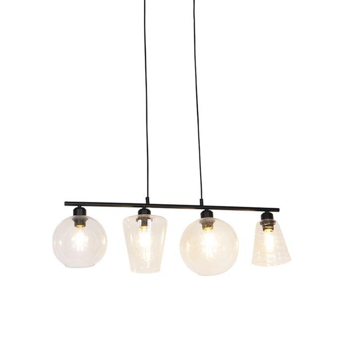 Art-Deco-hanglamp-zwart-4-lichts---Puffy