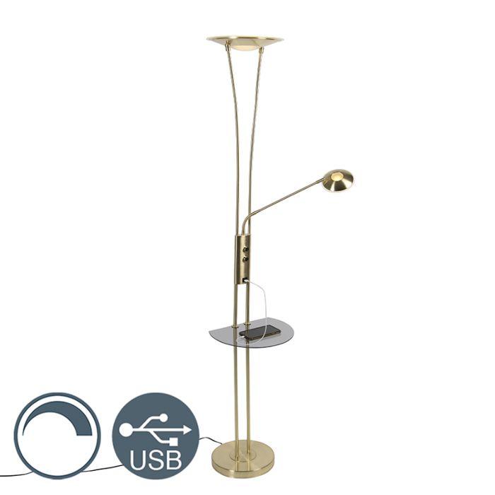 Vloerlamp-goud-met-leesarm-incl.-LED-en-USB-poort---Sevilla