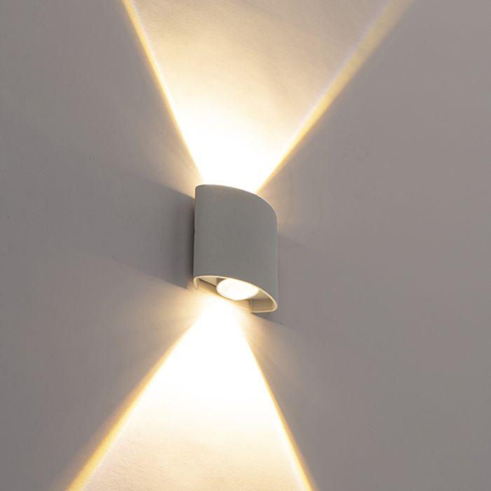 Design-buitenwandlamp-zilver-incl.-LED-2-lichts---Silly