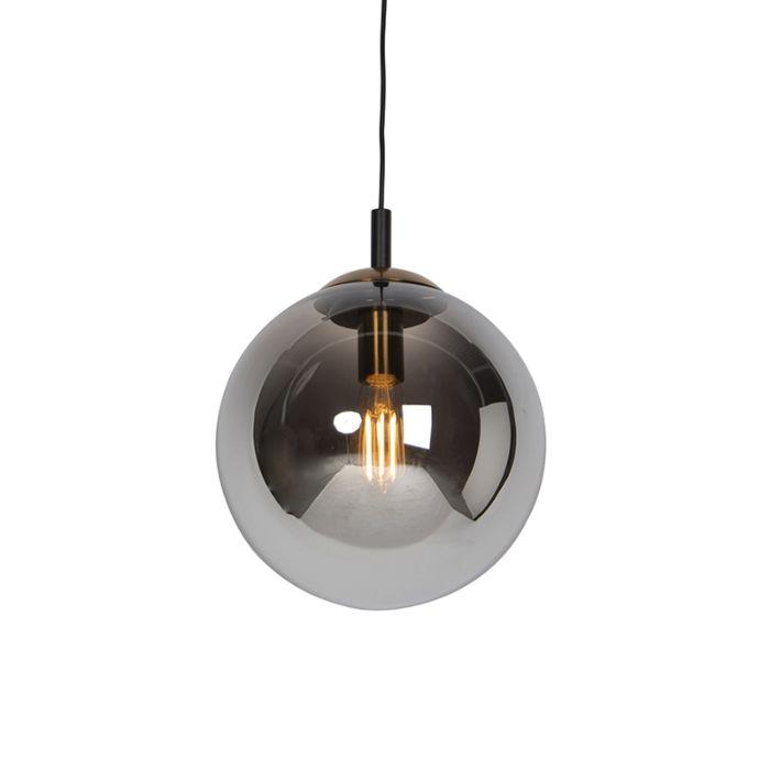 Art-deco-hanglamp-zwart-met-smoke-glas-30-cm---Pallon-Bulla