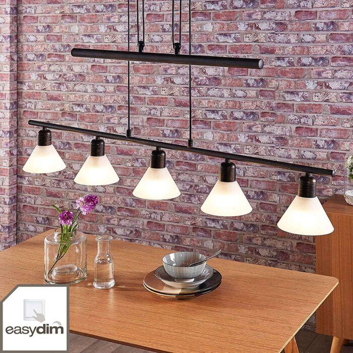 Hanglamp-zwart-goud-met-schakeldimmer-incl.-5-x-E14---Eleasa