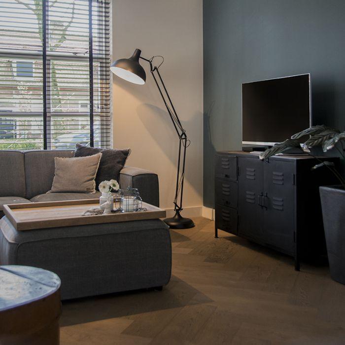 Industriële-vloerlamp-zwart-185-cm-verstelbaar---Hobby