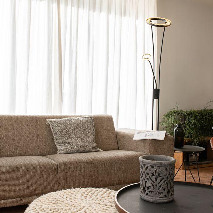 Moderne-vloerlamp-zwart-incl.-LED-met-leesarm---Divine