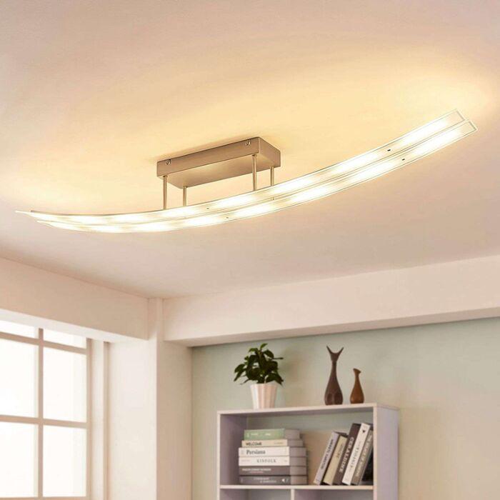 Moderne-langwerpige-plafondlamp-staal-incl.-LED-en-dimmer---Jarda