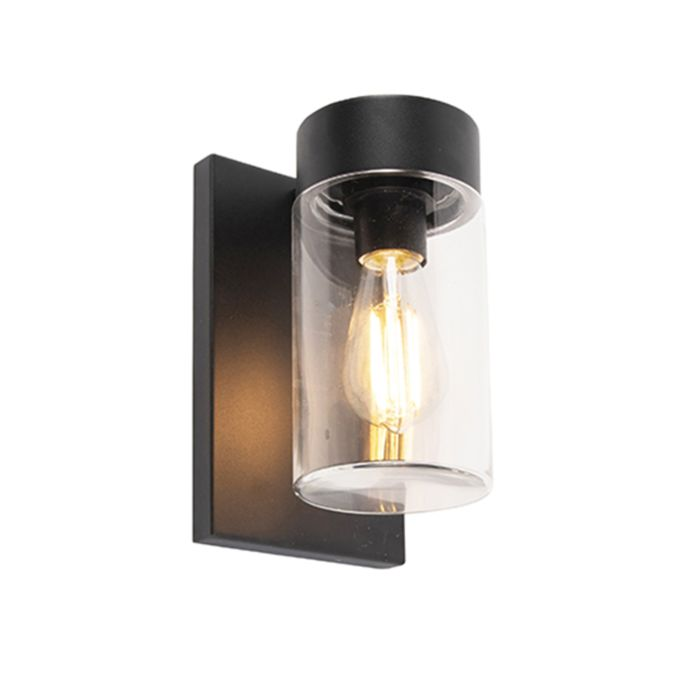 Moderne-buitenwandlamp-RVS-zwart-IP44---Jarra