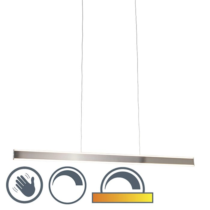 Moderne-hanglamp-staal-incl.-LED-140-cm-dim-to-warm---Ollie