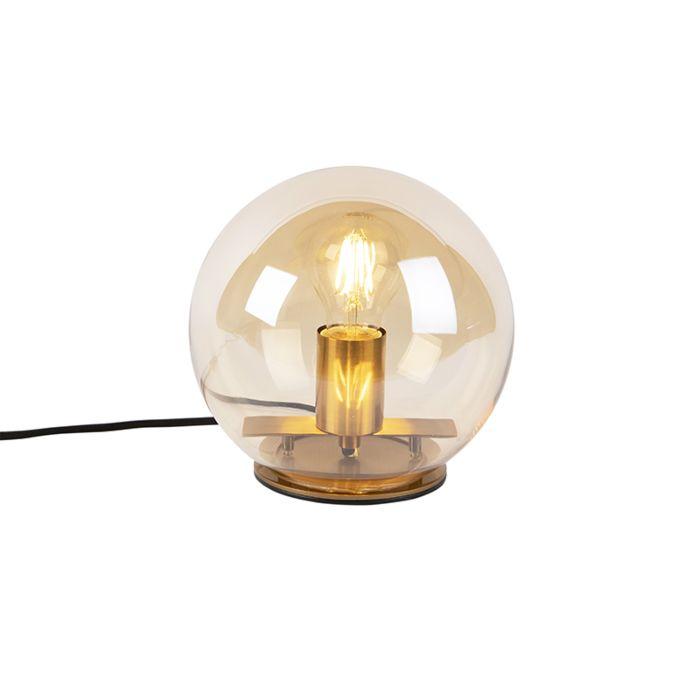 Art-Deco-tafellamp-messing-met-amber-glas-20-cm---Pallot