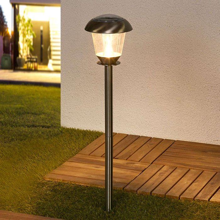 Klassieke-buitenlamp-RVS-incl.-LED-op-zonne-energie---Nela