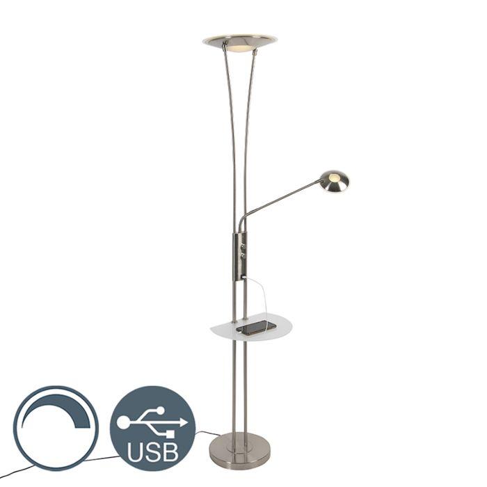 Vloerlamp-staal-met-leesarm-incl.-LED-en-USB-poort---Sevilla