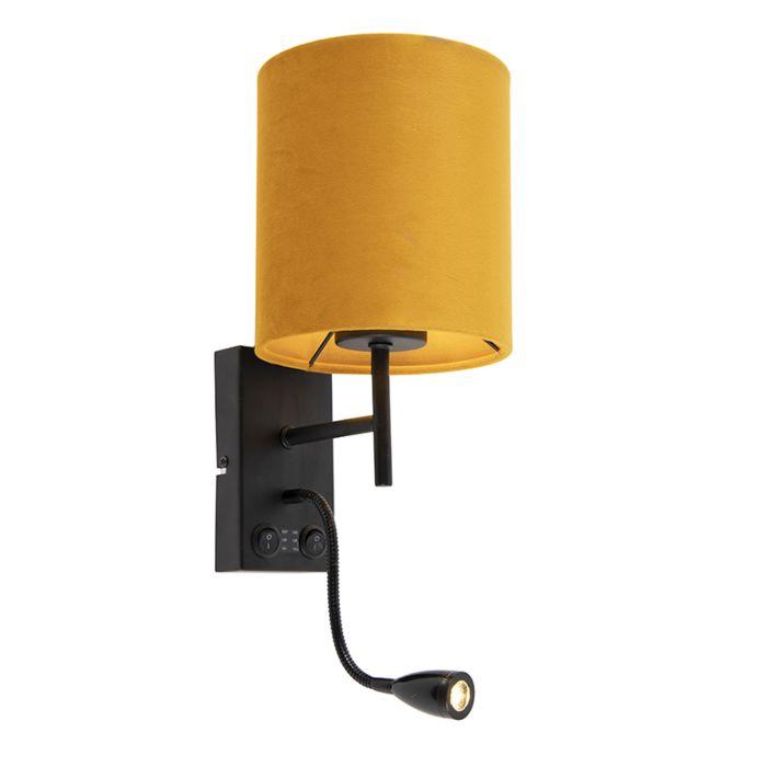 Wandlamp-zwart-met-velours-gele-kap---Stacca