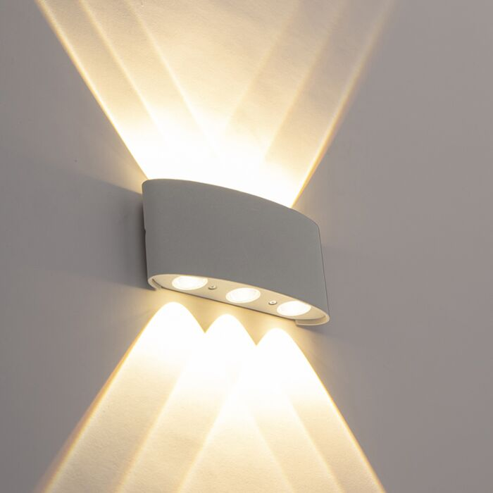 Design-buitenwandlamp-zilver-incl.-LED-6-lichts---Silly