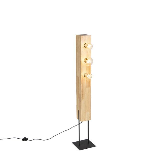 Landelijke-vloerlamp-zwart-met-hout-3-lichts---Sema