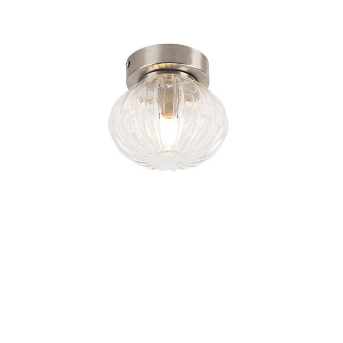 Plafondlamp-staal-met-helder-glas-13,5-cm-incl.-G9---Bolseno