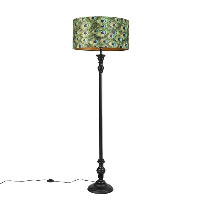 Vloerlamp-zwart-met-velours-kap-pauw-goud-50-cm---Classico