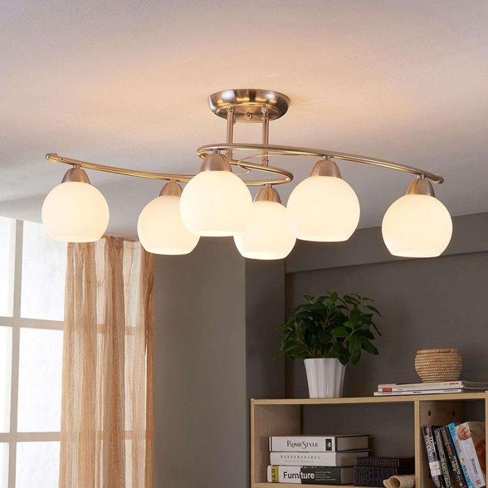 Klassieke-ronde-6-lichts-plafondlamp-staal---Svean