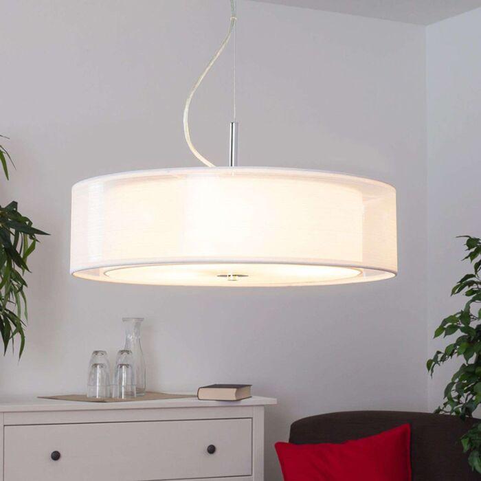 Moderne-ronde-hanglamp-wit-incl.-3x-E27---Pikka