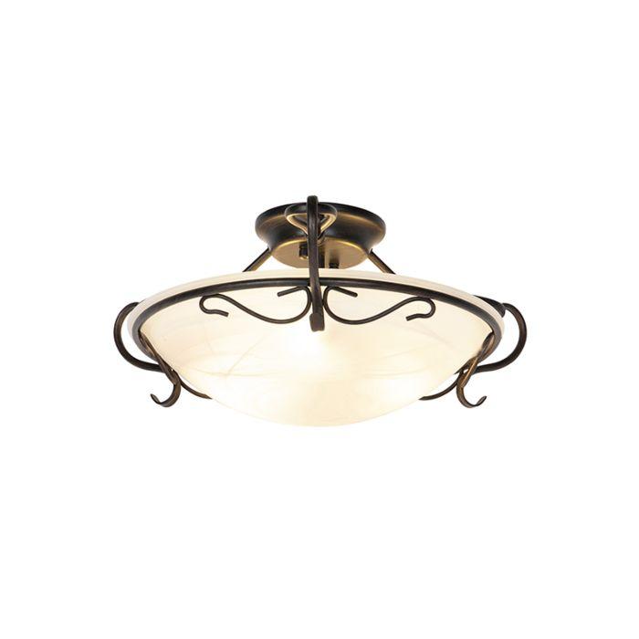 Klassieke-plafondlamp-bruin-met-opaal-glas---Unico