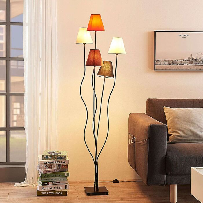 Design-5-lichts-vloerlamp-zwart---Melis