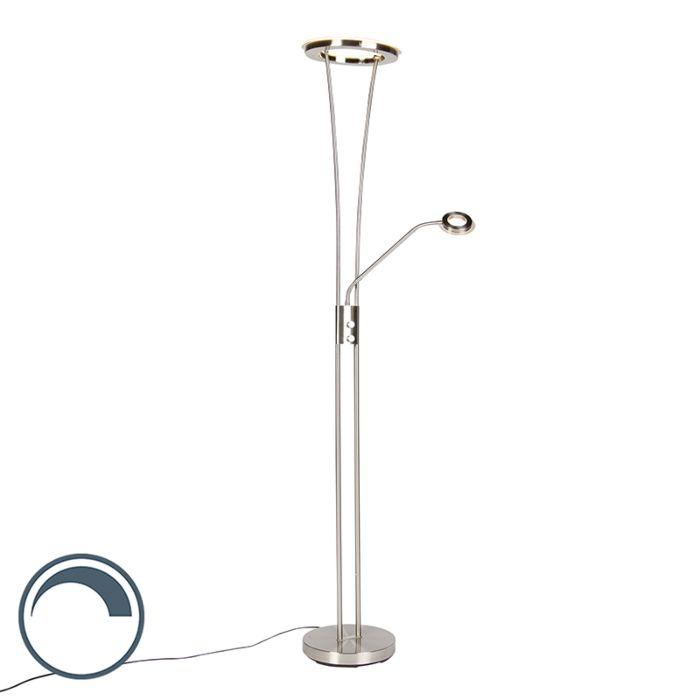 Moderne-vloerlamp-staal-en-glas-incl.-LED-met-leesarm---Divine