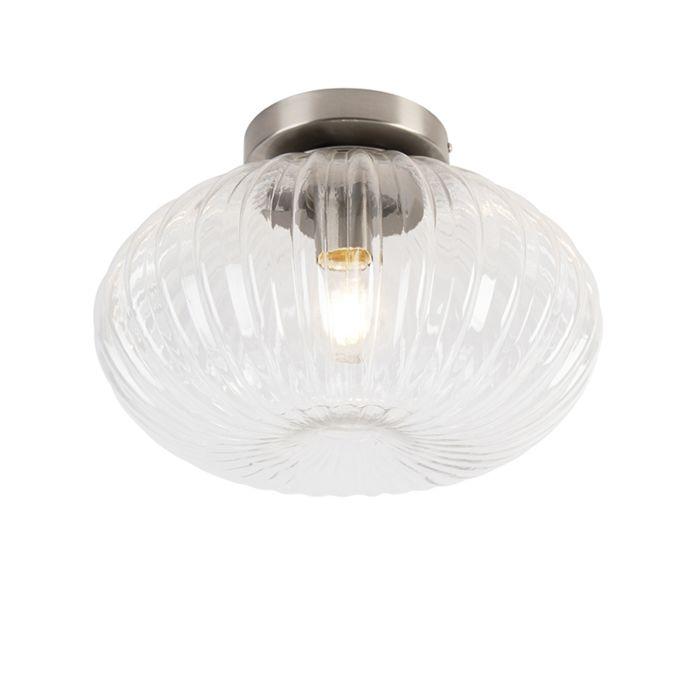 Art-Deco-plafondlamp-staal-met-helder-glas-35-cm---Bolseno