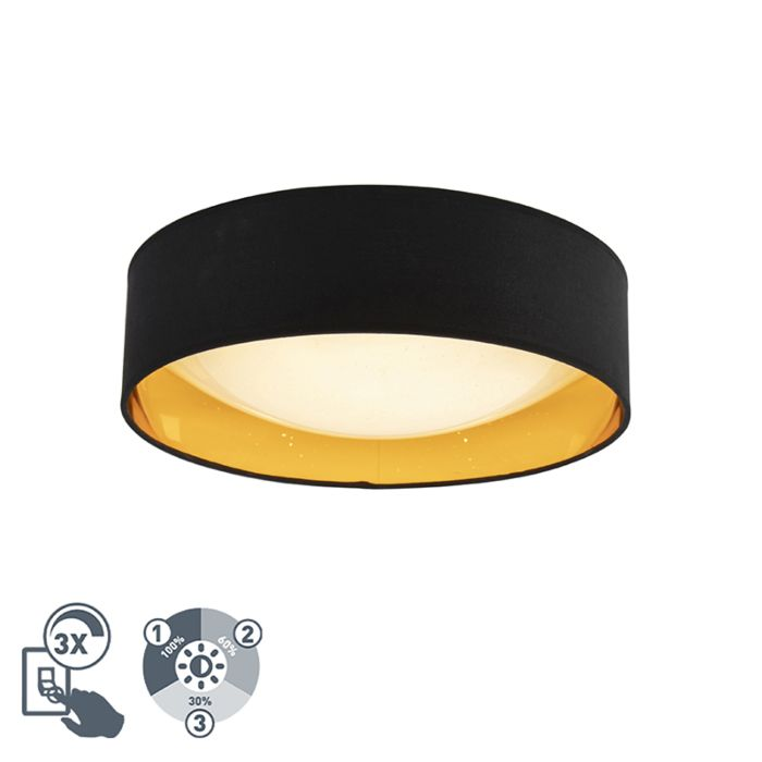 Design-plafonnière-zwart-met-goud-40cm-incl.-LED---Drum-Combi