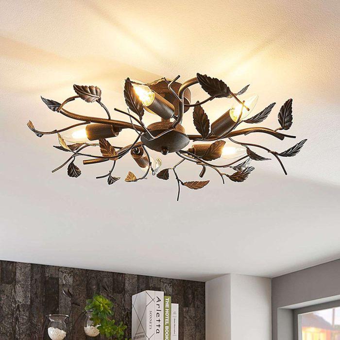 Romantische-plafondlamp-zwart-goud-geborsteld---Yos