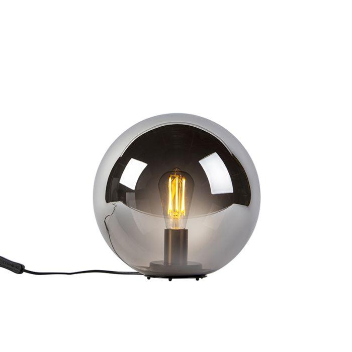 Art-deco-tafellamp-zwart-met-smoke-glas-30-cm---Pallon-Bulla
