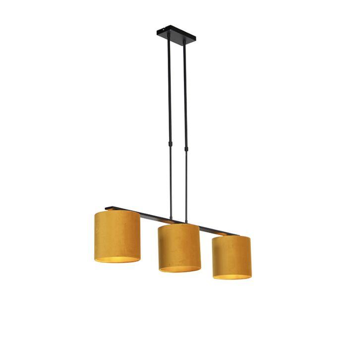 Hanglamp-met-velours-kappen-geel-met-goud-20cm---Combi-3-Deluxe