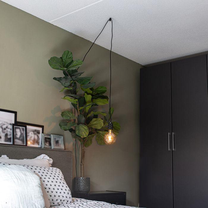 Design-hanglamp-zwart-1-lichts-met-stekker---Cavalux