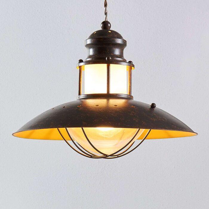 Industriële-ronde-hanglamp-roestbruin-35-cm---Louisanne