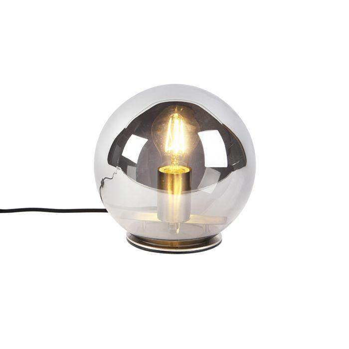 Art-Deco-tafellamp-staal-met-smoke-glas-20-cm---Pallot