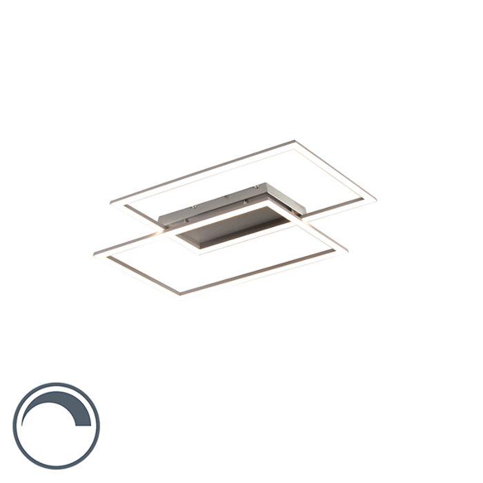 Moderne-plafonnière-staal-12W-incl.-LED-en-dimmer---Plazas-2
