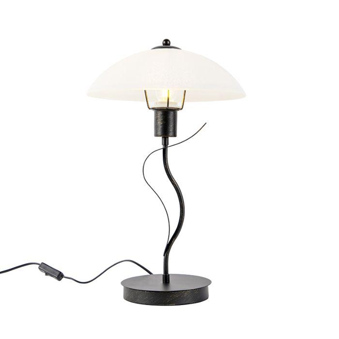 Klassieke-tafellamp-bruin-met-opaal-glas---Unik