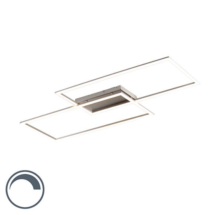 Moderne-plafonnière-staal-15W-incl.-LED-en-dimmer---Plazas-2